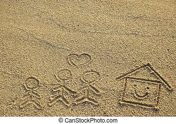 心, 家族, 家, 形, 砂, 引かれる, 浜, 幸せ