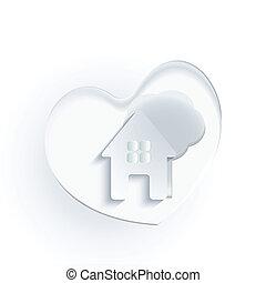 心, 家, 木, ロゴ, 白