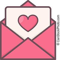 心, 封筒, 内側。