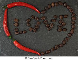 心, 干辣椒, 愛, 咖啡