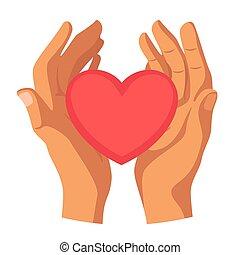 心, 平ら, イラスト, ベクトル, 手を持つ