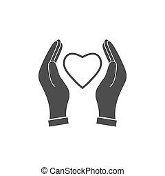 心, 平ら, イラスト, 形。, 手, ベクトル, icon.., 手を持つ, design.