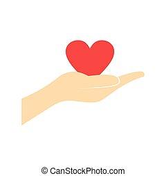 心, 平ら, 寄付, 手, 赤, アイコン