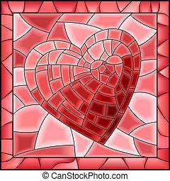 心, 弄脏, 窗口。, 玻璃