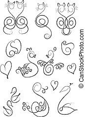 心, 引かれる, ネコ, icons:swans