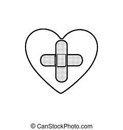 心, 形態, 交差点, バンド援助, モノクローム, 輪郭