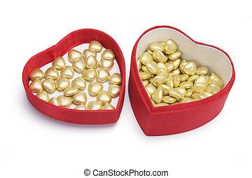 心 形成巧克力, 在, 禮物盒