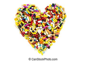 心, 形狀, 藥丸, 鮮艷