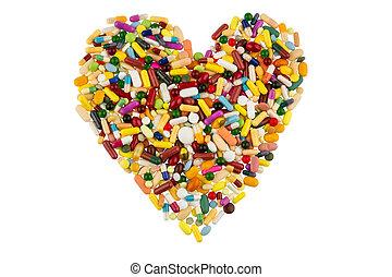 心, 形狀, 藥片, 鮮艷