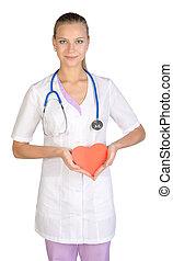 心, 彼の, 女性の医者, 手, ペーパー, 保有物, 赤