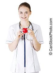 心, 彼女, 若い, 手, 看護婦