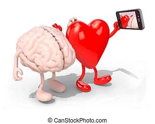 心, 彼女, 電話, 自己, 脳, 取得, 肖像画, 痛みなさい