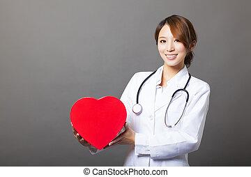 心, 微笑, 亞洲人, 女性, 醫生