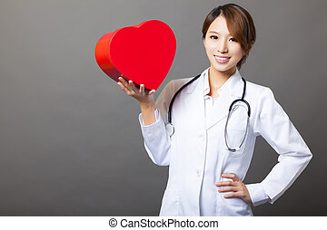 心, 微笑, 亞洲女性, 醫生