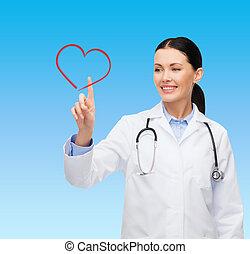 心, 微笑, 女性, 指すこと, 医者