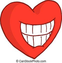 心, 微笑, 歯を見せる