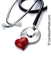 心, 心配, 道具, 健康, 薬, 聴診器