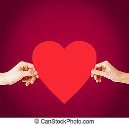 心, 恋人, 保有物, 赤, 手