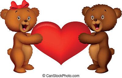 心, 恋人, 熊, 保有物の赤ん坊, 赤