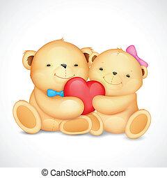 心, 恋人, 熊, 抱き合う, テディ