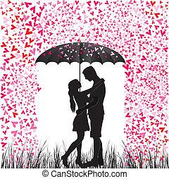 心, 恋人, rain., 人, 接吻