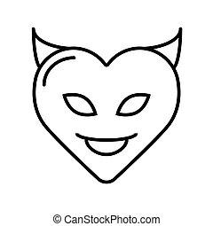 心, 悪魔, シルエット, illustration., バレンタイン, pattern., シンボル。, 日, ベクトル, テンプレート, ∥あるいは∥, horns.