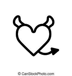 心, 悪魔, 愛, 線である, tail., アウトライン, ベクトル, 黒, 角, heart., icon., アイコン, 白, illustration.