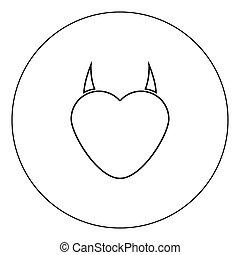 心, 悪魔, 色, 角, 黒い円, アイコン