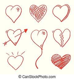 心, 愛, いたずら書き
