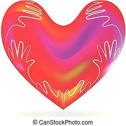 心, 愛, イメージ, ベクトル, 手, ロゴ, 子供