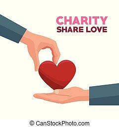 心, 愛, カラフルである, 寄付, 分け前, 手, 赤, 慈善