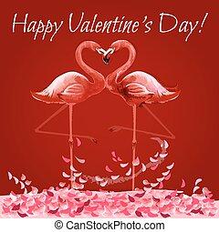 心, 愛, バレンタイン, フラミンゴ, 日, カード