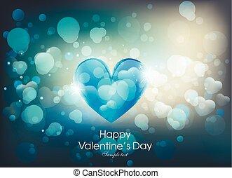 心, 愛, バレンタイン, bokeh, 日, カード