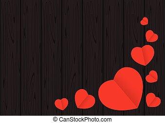 心, 愛, フレーム, バレンタイン, 形, デザイン, テーブルの 上, 背景, 黒い赤, スペース, 背景, コピー, 旗, カード, 木, グラフィック, 形づくられた, 木製である, バレンタイン, 光景