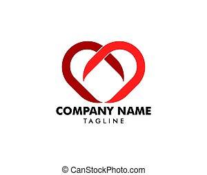 心, 愛, ベクトル, デザイン, テンプレート, ロゴ, アイコン