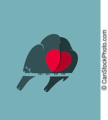 心, 愛, モデル, 恋人, 小枝, 鳥, bullfinch