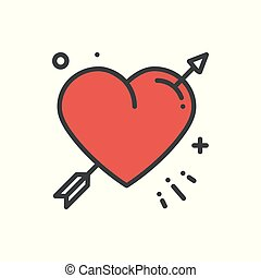 心, 愛, ロマンチック, 入れ墨, 愛, 幸せ, 印, シンボル。, theme., 恋人, 休日, 結婚式, 矢, ...