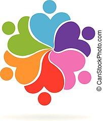 心, 愛, 人々, チームワーク, ロゴ, 慈善