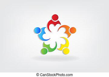 心, 愛, 人々, ベクトル, チームワーク, ロゴ, アイコン