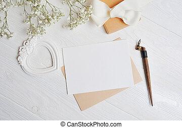 心, 愛, 写真, 挨拶, うそ, 形, テーブル, あなたの, バレンタイン, 位置, 花, 白, mock, 平ら, text., 手紙, 日, カード, 箱, 木製である, の上, gypsophila, 場所, 平面図