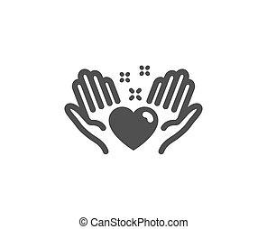 心, 愛, 友人, 印。, ベクトル, icon., 把握, 友情, 手。