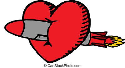 心, 愛, 大きい, /, ミサイル, 交差させる