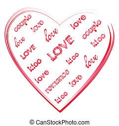 心, 愛, 形。, 言葉