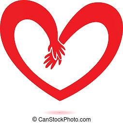 心, 愛, 手
