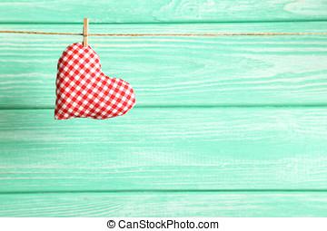 心, 愛, 木制, 繩子, 背景, 懸挂, 薄荷
