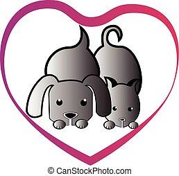 心, 愛, 犬, ねこ