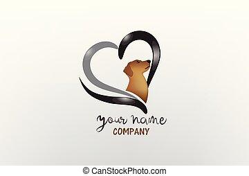 心, 愛, 犬, ロゴ