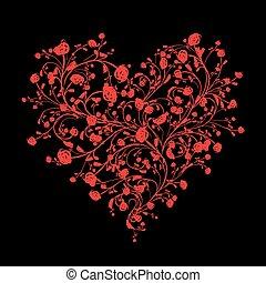 心, 愛, 花束, あなたの, 形, 花の意匠