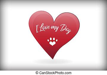 心, 愛, 足, 犬, ベクトル, デザイン, ロゴ