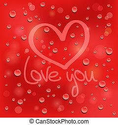心, 愛, you., ガラス。, 背景, ぬれた, 引かれる, 赤